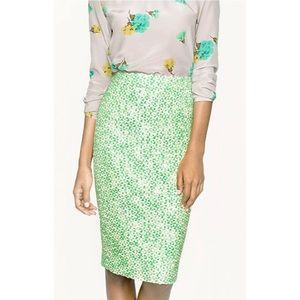 J. Crew No. 2 Pencil Green Tweed Skirt Sz 48588